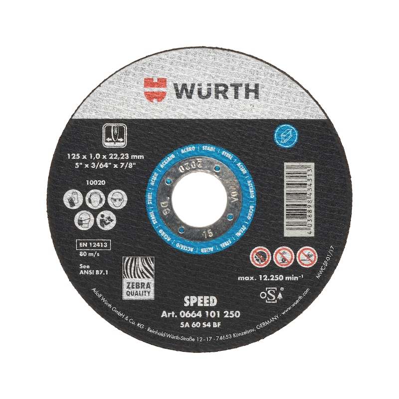 Speed cutting disc for steel - CUTDISC-SP-BLUE-ST-SR-TH1,6-BR22,2-D125
