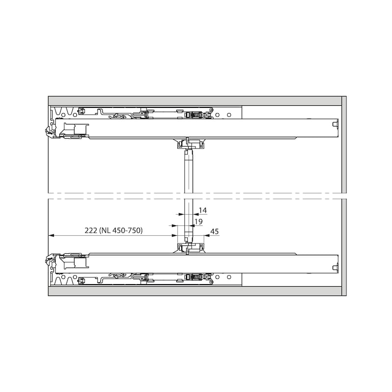Unterflurführung Vollauszug Dynapro Tipmatic 60 kg - 2