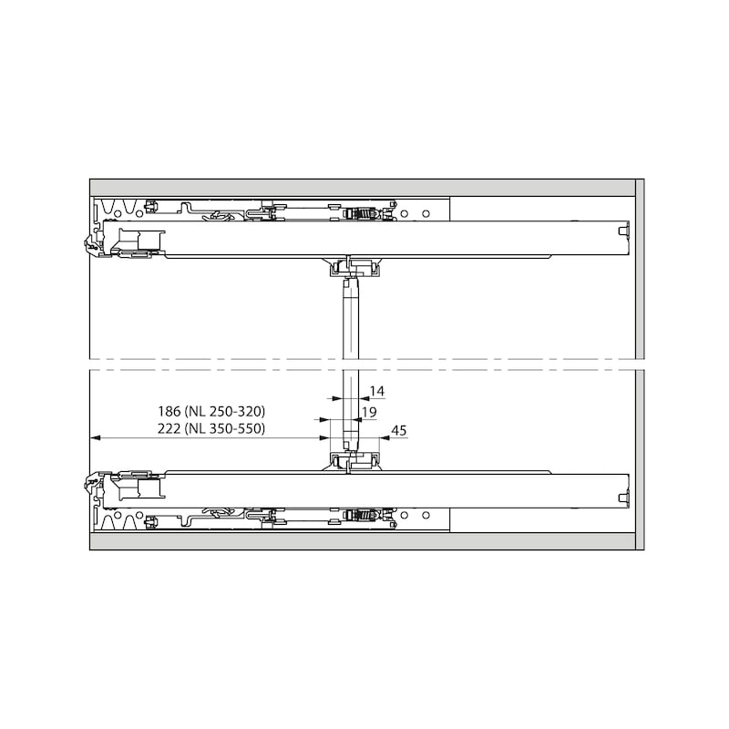 Underfloor guide full extension Dynapro Tipmatic 40 kg - 2