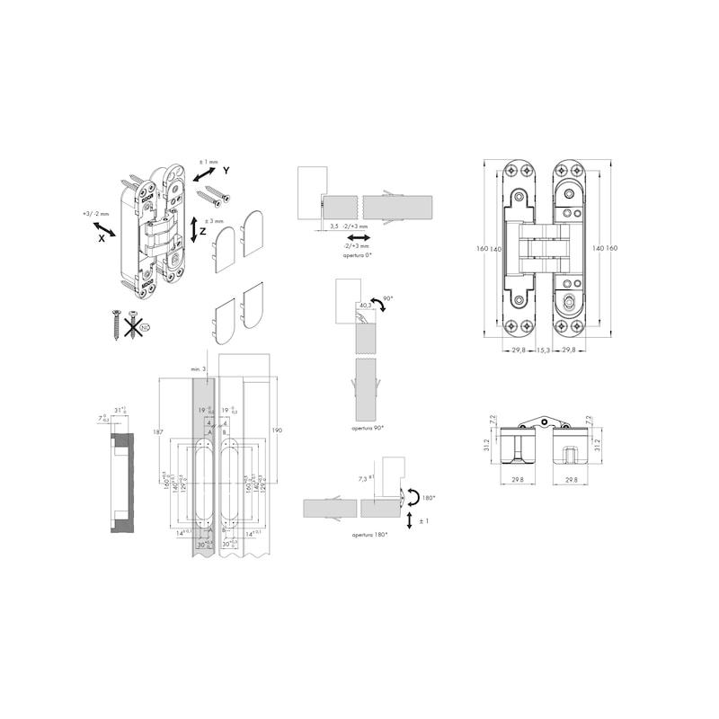 Charnière invisible, 3D, réglable SPIRIT PLUS80 - 2