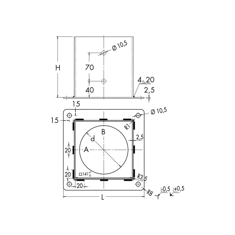 Portapilastro quadrato - 2