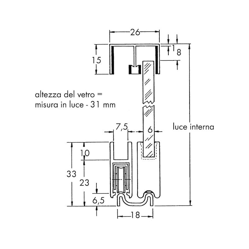 Binario doppio per porte scorrevoli a vetro | Würth