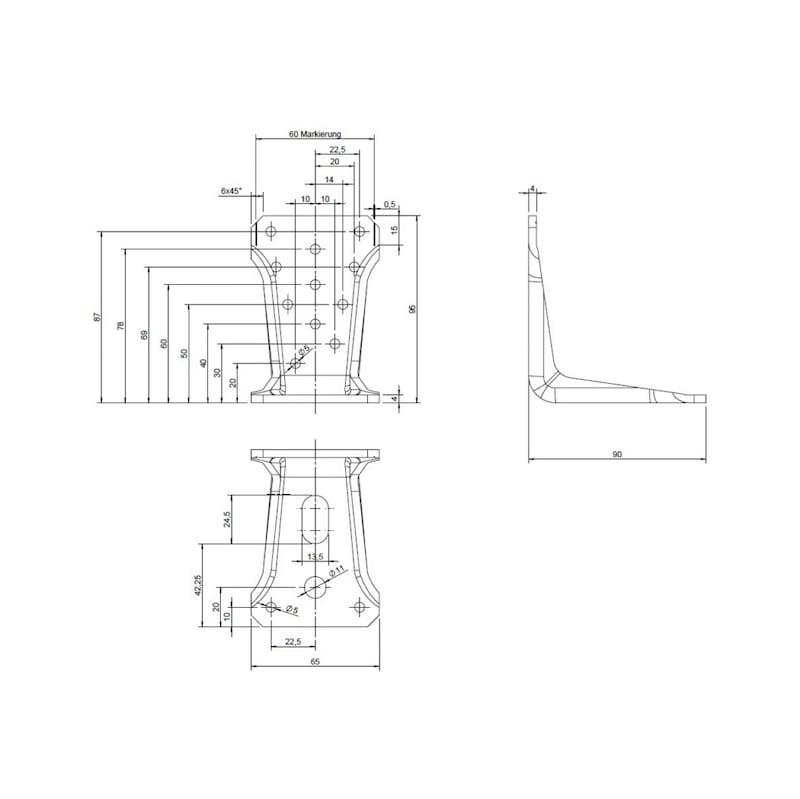 Winkelverbinder Typ V Langloch - WNKL-HOVERB-V-LANGLOCH-95MM