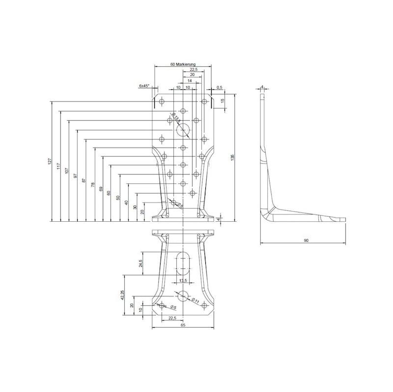Winkelverbinder Typ V Langloch - WNKL-HOVERB-V-LANGLOCH-135MM