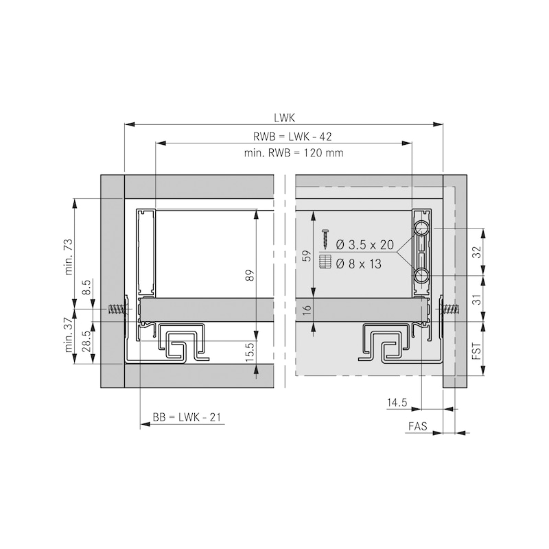 Zargen-Set Vionaro H89 - ZARGSYS-VION-SET-SNOW-H89-70KG-NL600