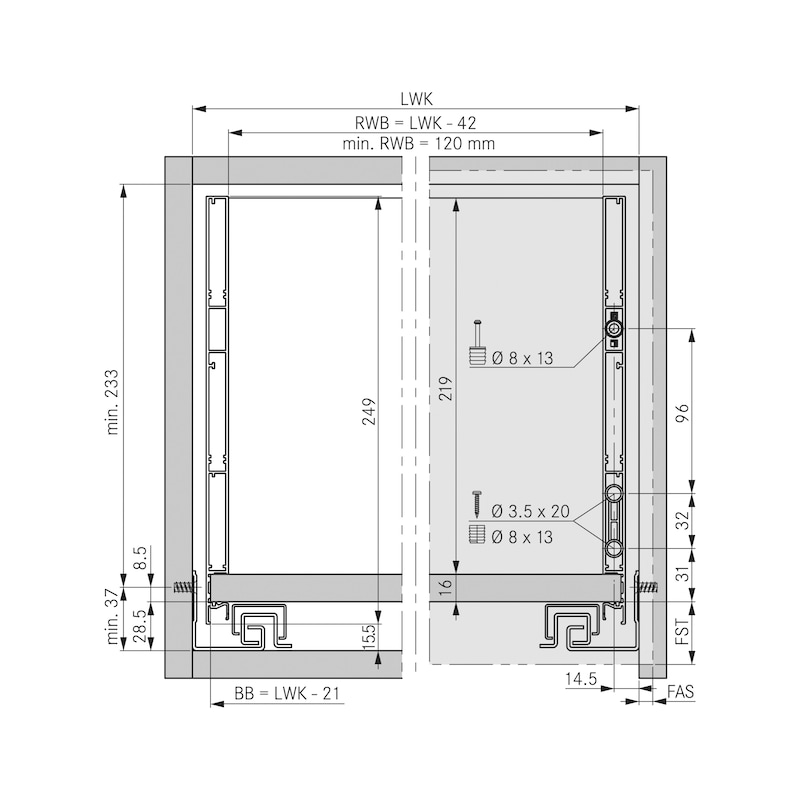 Zargen-Set Vionaro H249 - ZARGSYS-VION-SET-GRPH-H249-70KG-NL550