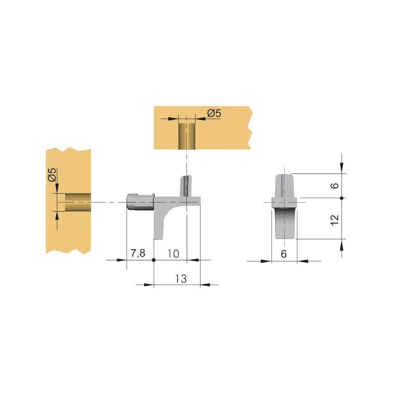 Design-Bodenträger mit Steckzapfen - BODTRG-EINSTE-DESIGN-STEG-ZD-(NI)-ZAPFD5