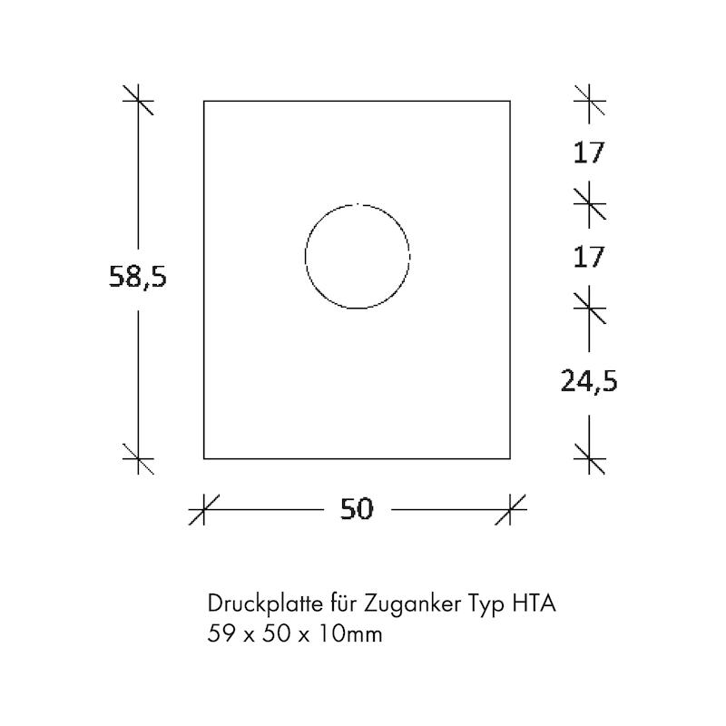 Druckplatte für Zuganker HTA - ZB-FUSSPL-HTA-ZUGANKER-58,5X50X10MM