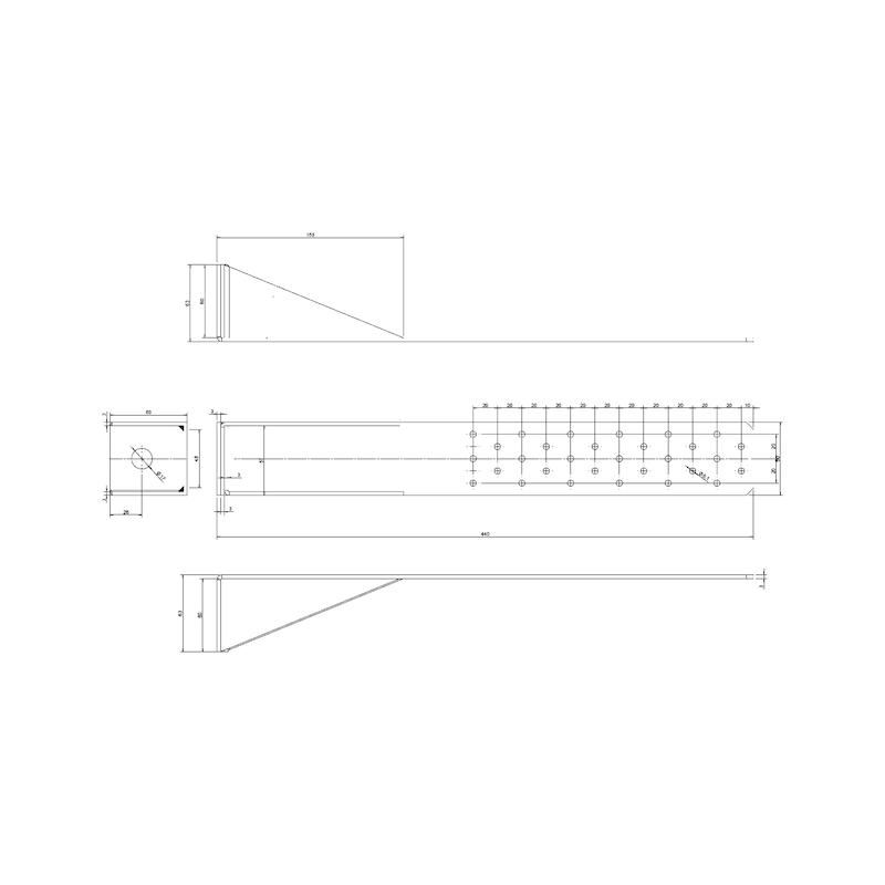 Zuganker HTA - ZUGANK-HTA-FUSSPL-440X60X60X3,0MM