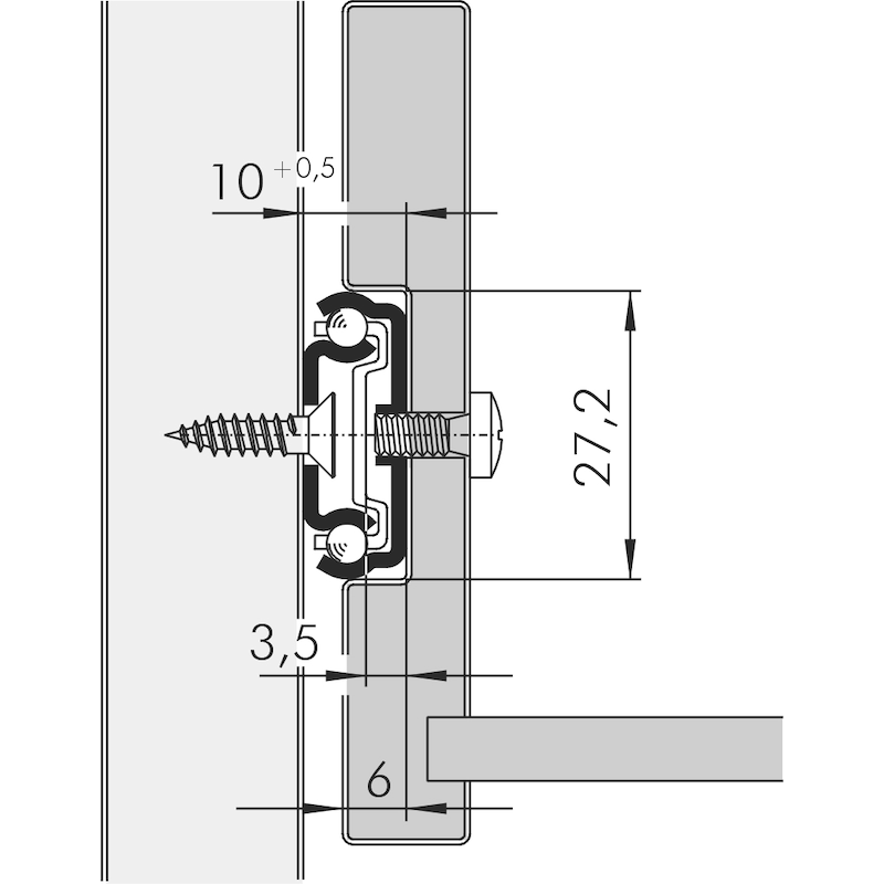 Kugelführung Teilauszug 15 kg - 2