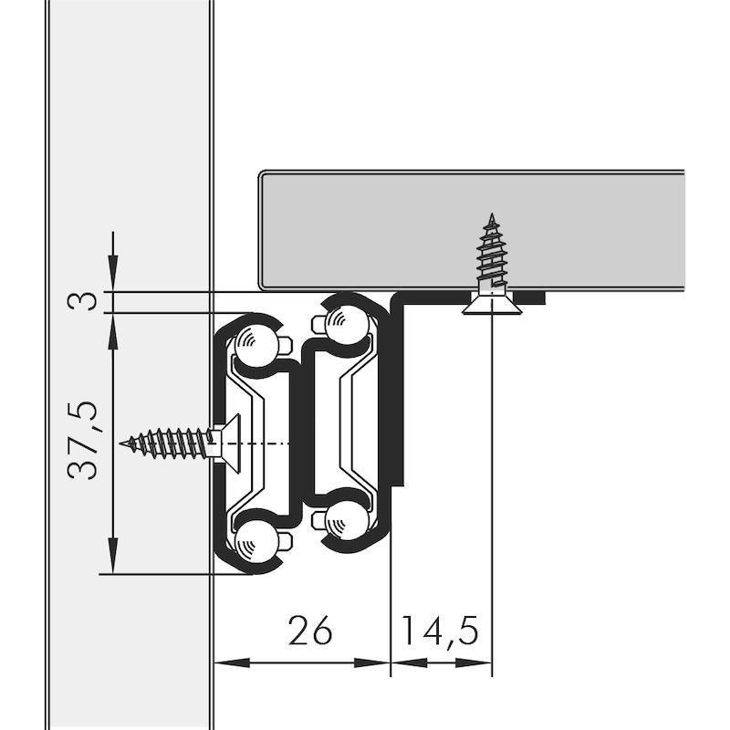 Kugelführung Tablarvollauszug 60 kg - 2