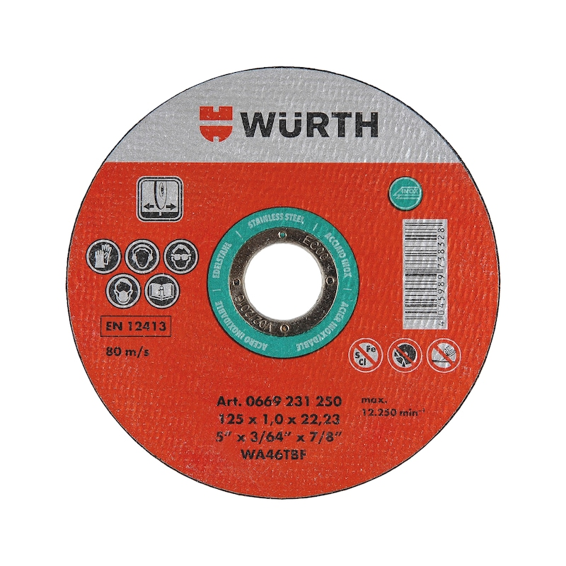 Cutting disc for stainless steel Basic - CUTDISC-GREEN-A2-SR-TH1,0-BR22,2-D125MM