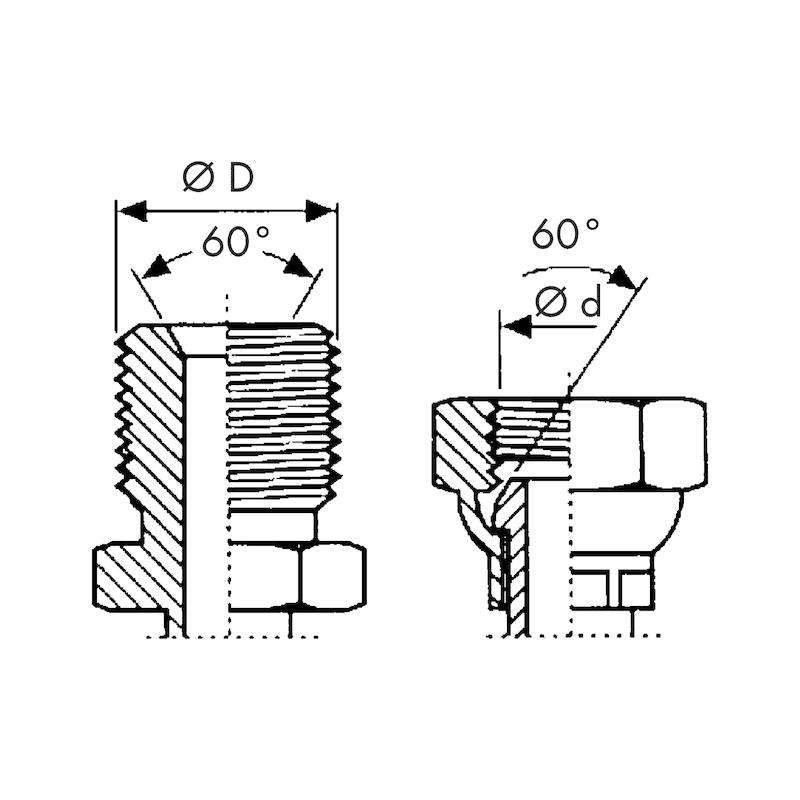 Raccordo a pressare BSP sede 60° - RACC-PRESS-MAS-GAS-SV60-DN25-3/4