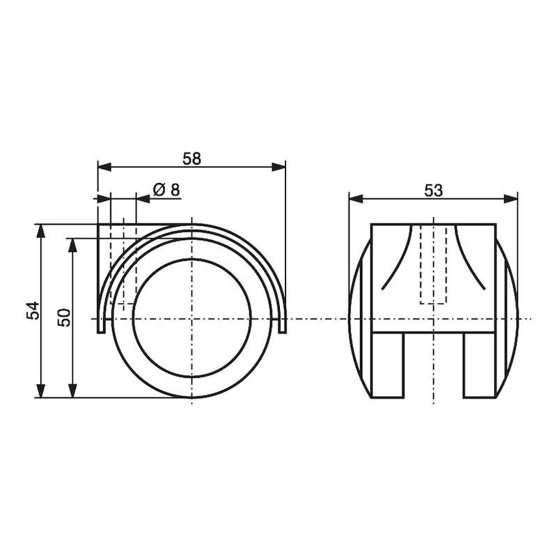 Möbeldoppelrolle - MOEBLROLL-DOPPEL-WEICH-D50MM-50KG
