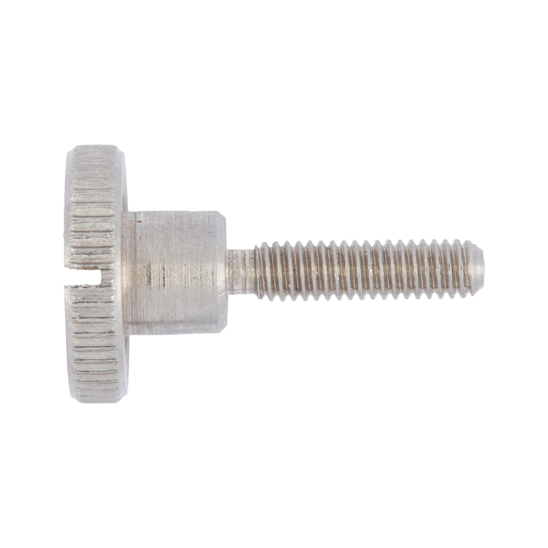 Knurled thumb screw, high profile, slotted - SCR-KNRL-DIN465-A1-M5X16