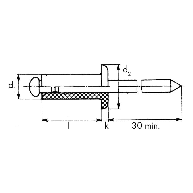 DIN 7337 félgömbfejű alu./horganyzott acél - 2