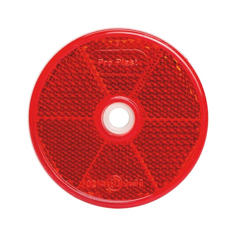 Rückstrahler rund mit Bohrung - STRAHL-BOD6-RUND-ROT-D62MM