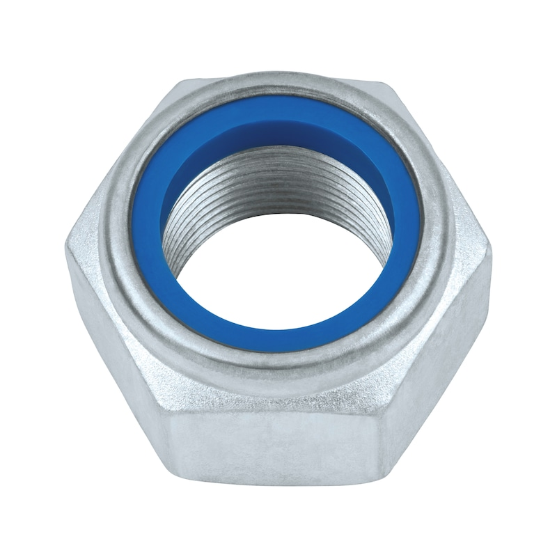 Hexagon nut, low profile, with clamping piece (non-metal insert) - 1