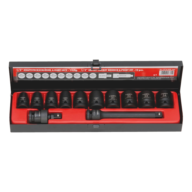 1/2-inch impact socket wrench assortment - IMPSKTWRNCH-1/2IN-SET-12PCS
