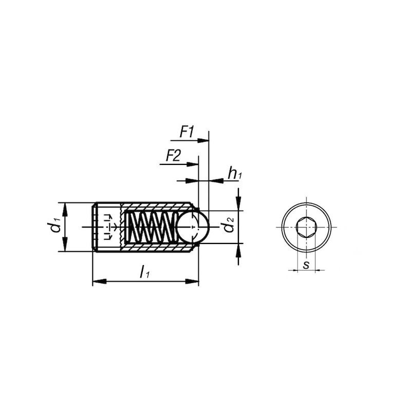 Federndes Druckstück mit Kugel  - 2