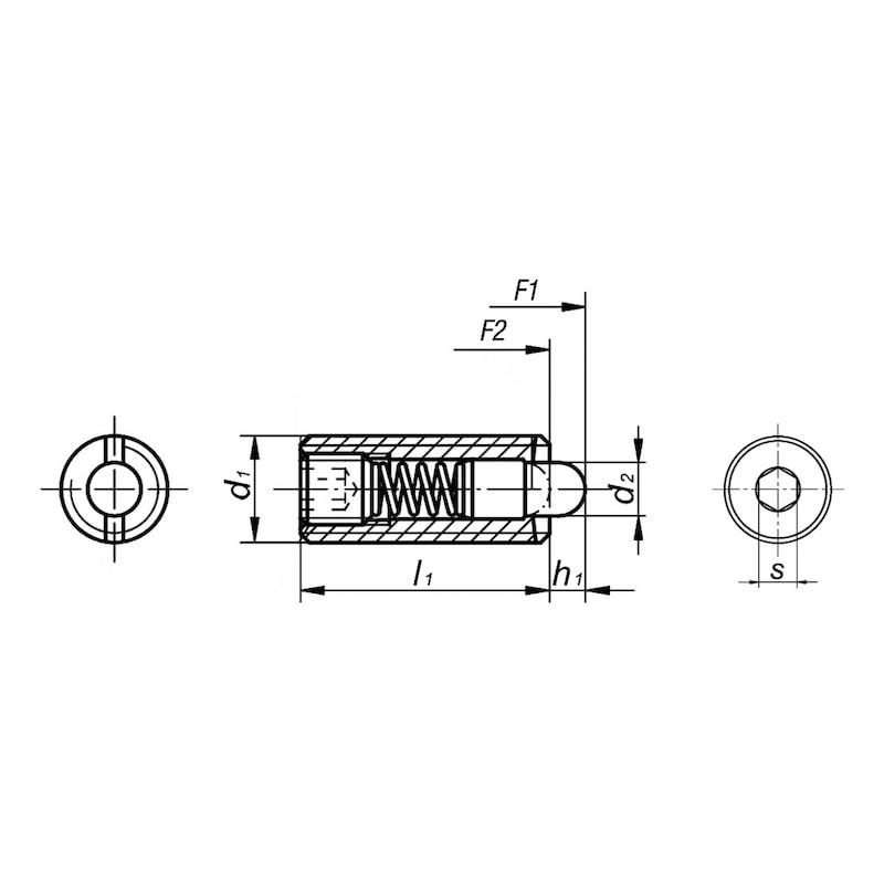 Federndes Druckstück mit Druckbolzen - FEDDRKSTK-BLZ-(5.8/POM)-M6X20