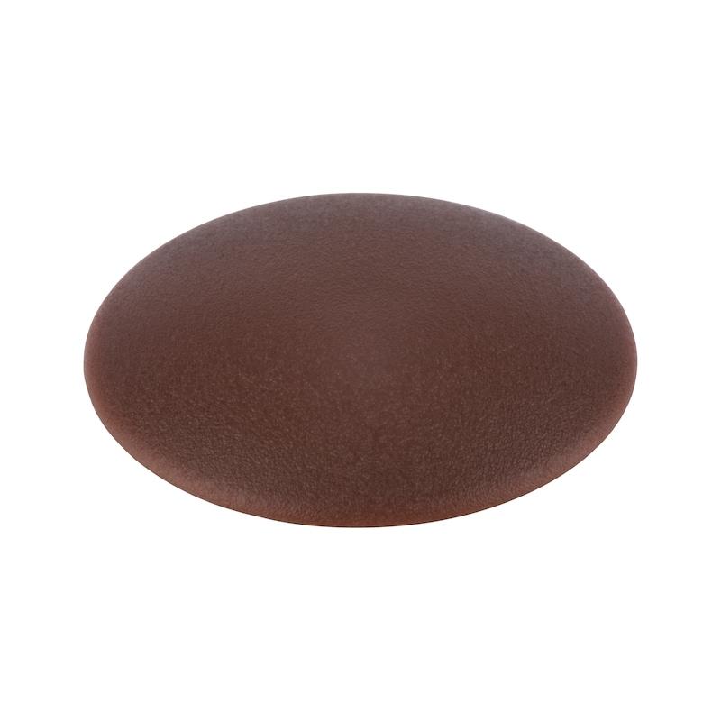 Cover cap, flat, for hexalobular head and AW drive - CAP-FL-AW40-R8016-MAHOGANYBROWN-D15