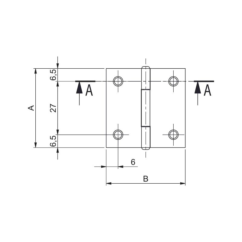 Gerollte Scharniere Form C quadratisch - KISTBA-KAENTIG-(FORM-C)-ST-(ZN)-40X40