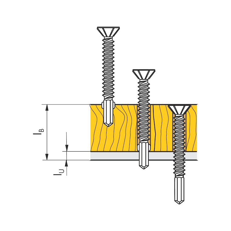 Wing-type drilling screw, round countersunk milling head with AW drive pias<SUP>®</SUP> - SCR-DBIT-WING-PLTCS-CUT-AW30-RUS-6,3X65