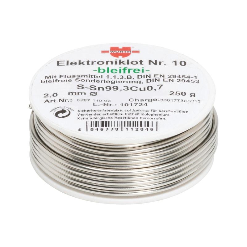 Weichlot bleifrei Elektroniklot Nr. 10 - LOT-NR10-SN99,3CU0,7-BLEIFREI-250G-D2,0