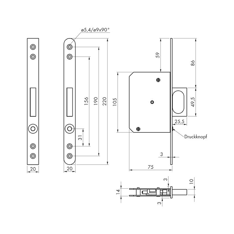 Schiebetür-Einsteck-Springgriff  - 2