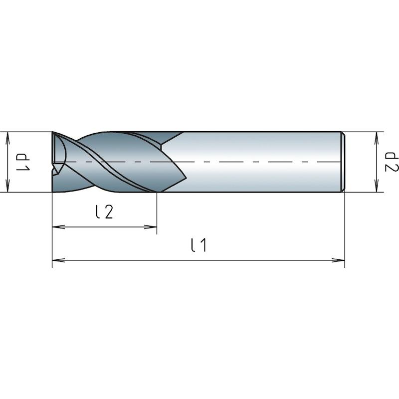 VHM-Schaftfräser, kurz, Dreischneider - 2