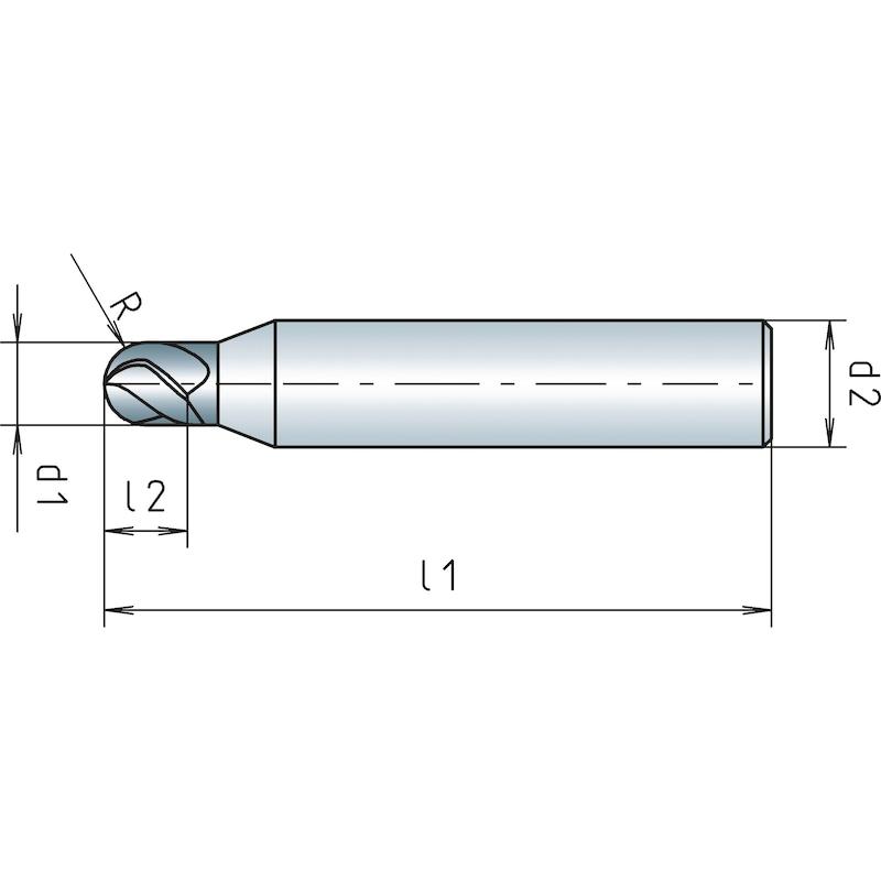 VHM-Mini Radiusfräser lang, Vierschneider mit verstärktem Schaft - 2