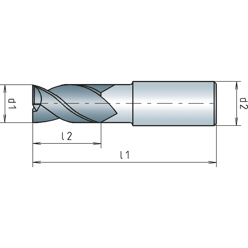 VHM-Schaftfräser mit verstärktem Schaft Dreischneider - FR-SCH-WN--VHM-TN-D2,5MM