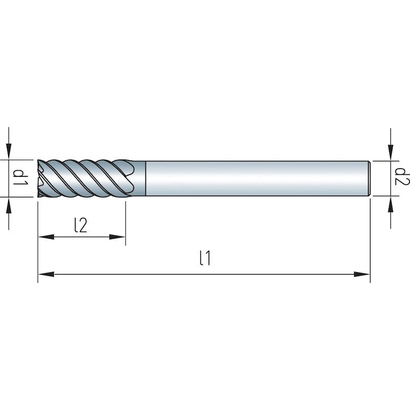 Schaftfräser VHM Speedcut, Ultra hard steel 68 HRC, DIN 6527L, lang - 2