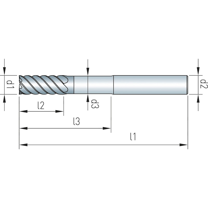 Schaftfräser VHM Speedcut, Ultra hard steel 68 HRC, extra lang - 2