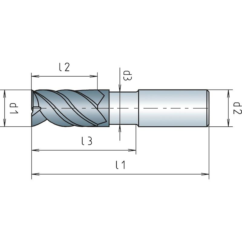 Schaftfräser VHM Speedcut Inox, DIN 6527K, kurz, freigestellt, Vierschneider, ungleiche Drallsteigung - 2