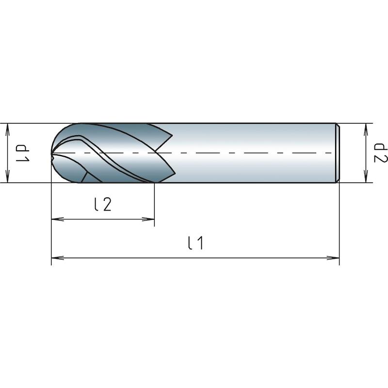 VHM-Radiusfräser kurz, Zweischneider - 2