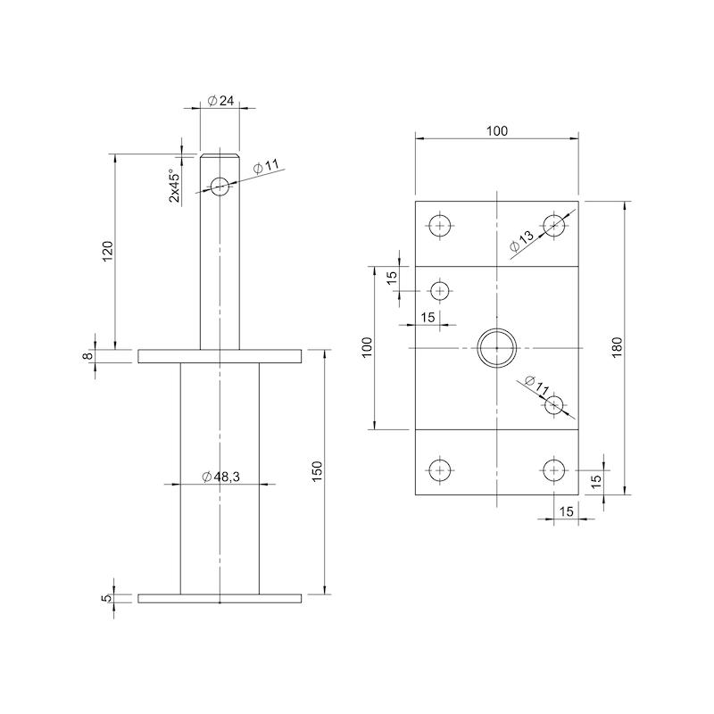 Pfostenträger D-D/TZN - PFOSTTRG-DBL-TZN-DOLLE24-H150