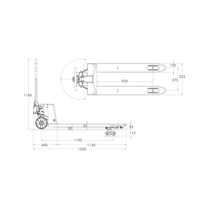 Transpallet manuale - TRANSPALLET MANUAL FORCHE 1150 MM
