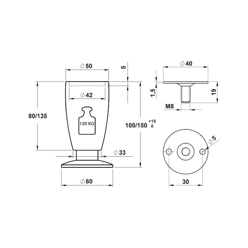 Möbelfuß - MOEBLFU-A2-KGL-BUCHE-D50MM-150/165MM