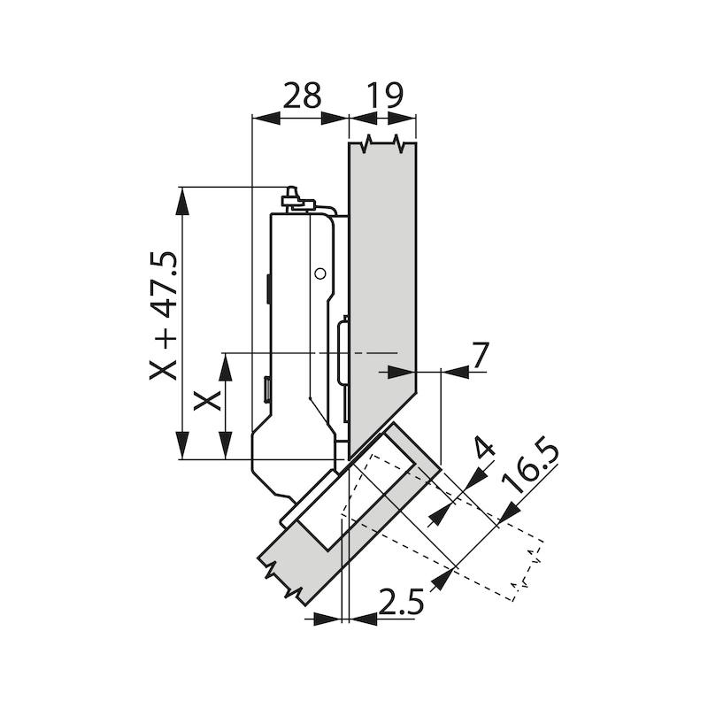 Topfscharnier TIOMOS Click-on 110 / 45 A - SHAN-TT-CLICKON-110-45-H-BB-AUFLG