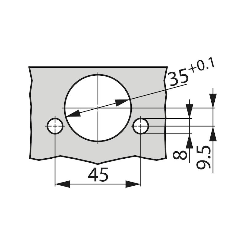Charnière invisible, TIOMOS Impresso 110/45 E TIOMOS 110/45 E - TIOMOS S-C -45°E IMPRESSO 110° 42/45