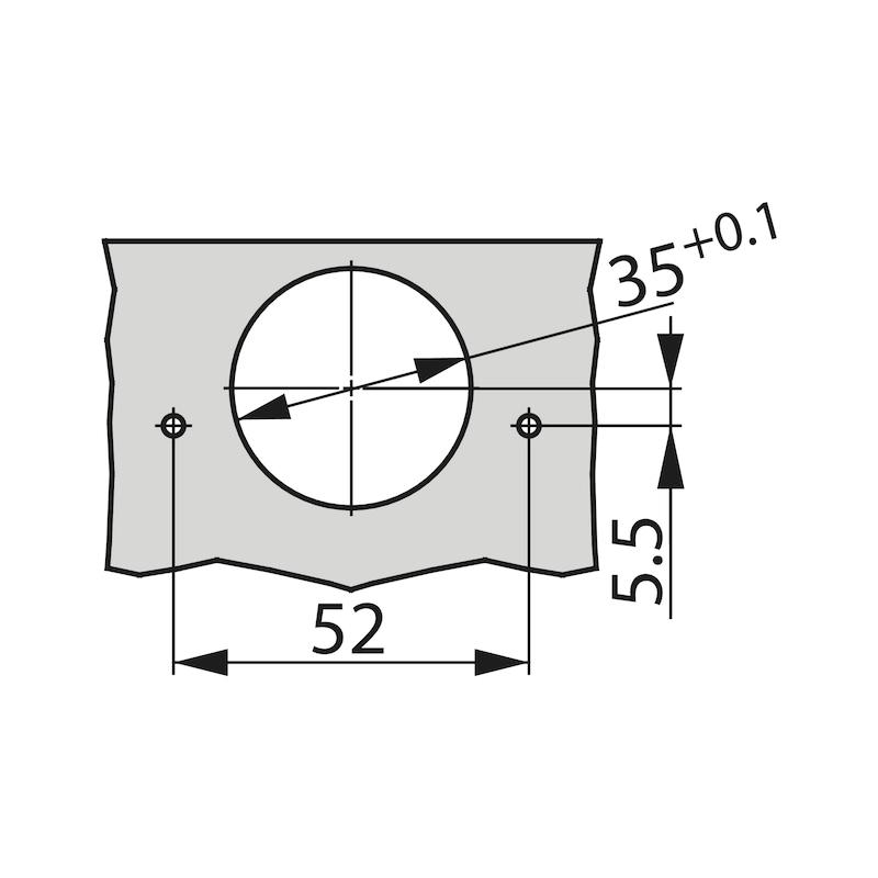 Charnière invisible TIOMOS Click-on 95 TIOMOS 95 - TIOMOS S-C P-EP A VISSER 95° 52MMK19