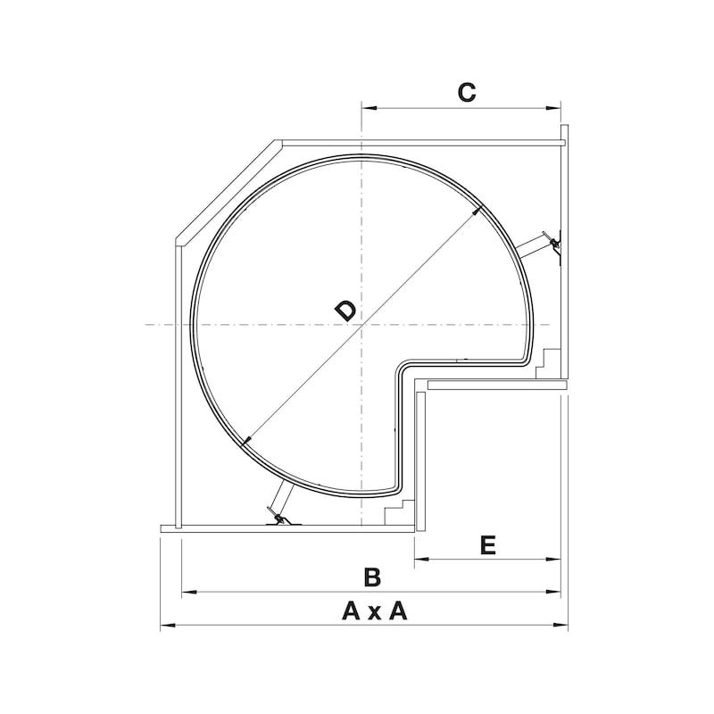 Plateaux tournants pour meubles d'angles Kit VS COR Wheel Pro 3/4 - 2