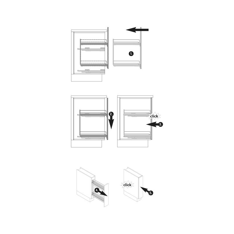 Etagenvollauszug 90° VS SUB LIM - AUSZUG-USHRNK-VA-PL-90GRD-SUB-SLIM-150
