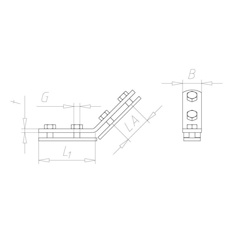 Esquadro móvel VARIFIX, 45°, pré-montado - 2