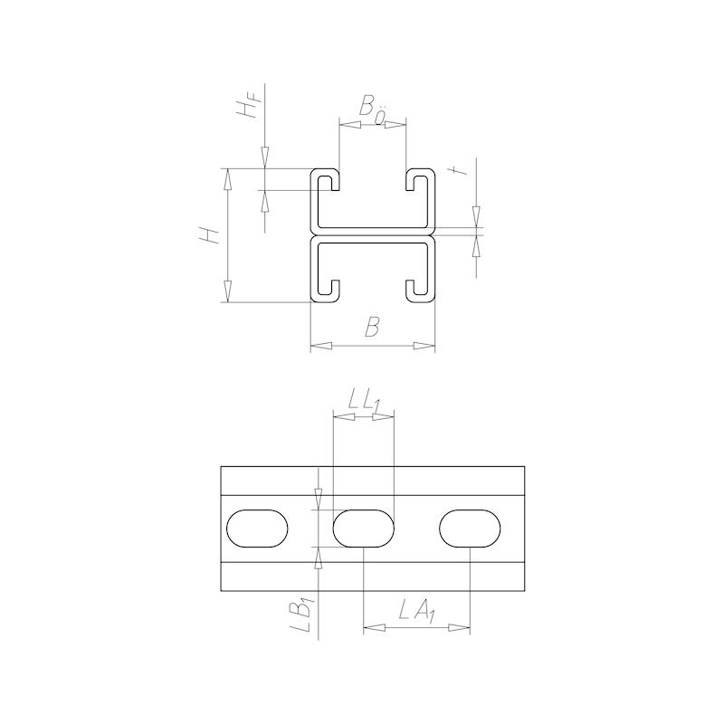 VARIFIX<SUP>® </SUP>C-Montageschiene 41/44 - C2C - 2
