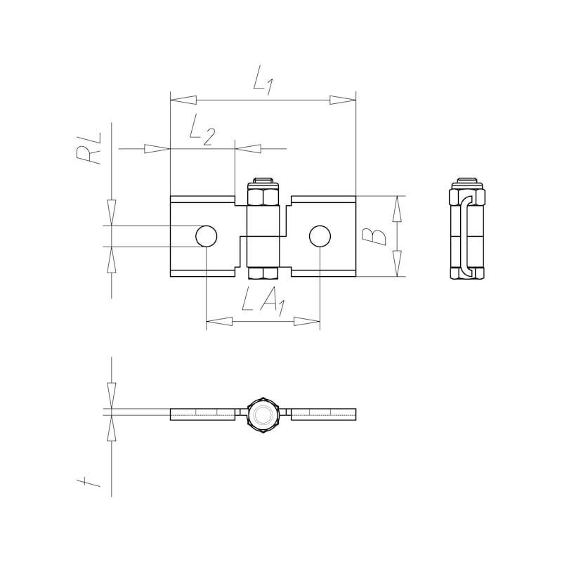 VARIFIX<SUP>®</SUP>-Gelenkverbinder flach Rundloch - GLKVERB-FLACH-41-DT1-KURZ