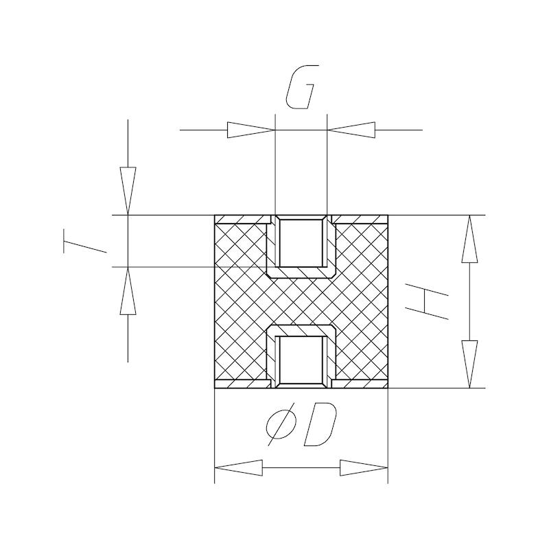 Gummi-Metall-Puffer Typ C - C2C - 2