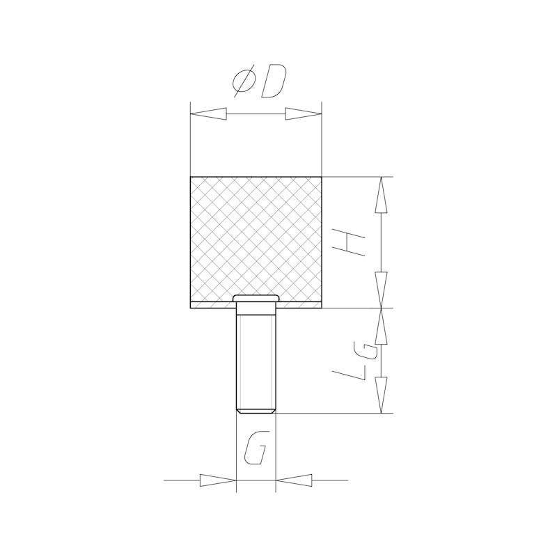 Tampon en caoutchouc/métal Type D - C2C - 2